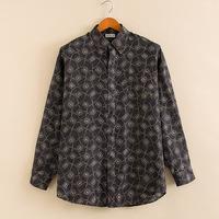 Mulberry silk silk shirt in spring and summer of 2014 Men pattern dark long sleeve shirts