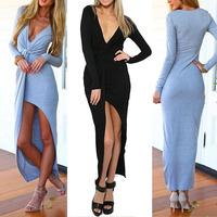 New Fashion Winter Dress Women Bandage Maxi Long Dress Sexy Deep V Neck Beach Evening Party Slit Dresses