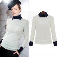2014 autumn winter european style fashion long-sleeve knit fake two sweaters, blusas femininas, blusa, women autumn, shirt women