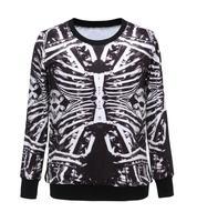 2014 women sports sweatshirts stars3D bones  pattern Harajuku hedging long sleeve sportswear