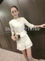2014 Autumn Women's Sets Korean Women Sleeve T-shirt + Shorts Two-Piece suits College Wind Clothing Suit