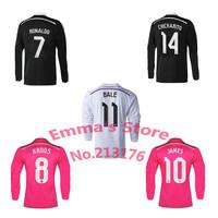 2015 Real Madrid Soccer Jersey Long Sleeve Black Dragon Pink White RONALDO JAMES CHICHARITO Kroos 14 15 Real Madrid Full Sleeve