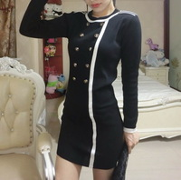 2014 Free Shipping Hot Sale Knitted Cotton Korean Hot Sale New Style Double-Breasted Long-Sleeved Knit Dress Black RF14100403