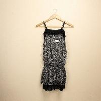 2014 Free Shipping Hot Sale New Style Fashion Leopard Print Chiffon Sling Dress Black RF14092605 Free Size Drop Shipping