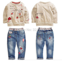 Kids autumn fashion clothes for girls Cartoon long-sleeved sweater + jeans suit grils student clothes NEXT ATZ096