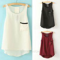 Pocket Shirt Tops Simple Style Pocket Round Neck Sleeveless Tank 2014 Women's Fashion  Tops Asymmetrical Shirt  J*E3112#S4