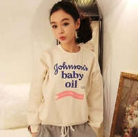 2014 autumn and winter latest fashion students loaded letters hedging pullover plus siize loose fleece sweater 2 color