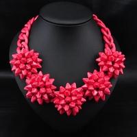 Wholesale Jewelry Hot Sale fashion Unique Items Red Flower Vintage Choker statement Choker Necklace