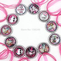 50pcs/lot 2014 New Arrival 46cm Bottle Caps Monster High Necklace Colorful Ribbon Cartoon Pendants Necklace for Girls