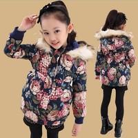 Retail 1 Pc New 2014 Children Medium-Long Outerwear Girls Winter Warm Coat Jackets For Girls Flower Thicker Kids Parkas CC1573