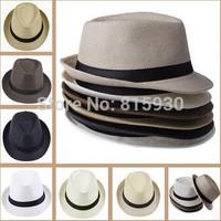 Unisex Women Men Casual Trendy Beach Sun Straw Panama Jazz Hat Cowboy Fedora Gangster Cap with Black Ribbon 6 Colors