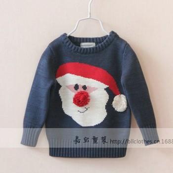 Новое поступление оптовая продажа 6 шт./лот мода ребенка девушка трикотажных пуловеров мило дети дед мороз свитер принцесса свободного покроя широкий свитера