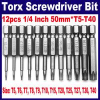 12pcs 1/4 Inch 50mm*T5-T40 Magnetic Torx Screwdriver Bits Set