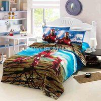 Spider-Man, Iron Man cartoon series cotton bedding linen three-piece active Cotton Bedding