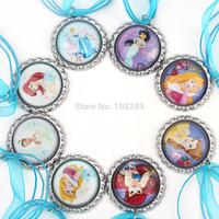 50pcs/lot 2014 New Arrival 46cm Bottle Caps Fairy Princess Necklace Colorful Ribbon Cartoon Pendants Necklace for Girls