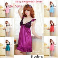 8 colors Sexy lingerie wholesale sexy new suit sling ice silk pajamas purple lace sleepwear dress women nightwear Free Size