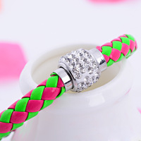 PU Leather woven bracelet with magnetic buckle