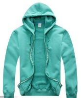 Blank hoodies cashmere lining cotton surface winter warm hoodies unisex pure color sweatshirt with hood zipper thick hoodies
