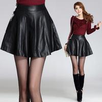 New Autumn And Winter 2014 Women Leather Skirt Ladies Fashion Skirt High Waist PU Leather Skirt Big Yards Short Skirts