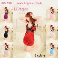 8 colors sexy lingerie dress for women v-neck lace spaghetti strap sleepwear baby doll Free Size nightgown nightwear underwear