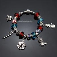 Christmas Gift European Crystal Beads Pulseras 925 Silver X'mas Socks & Bells & Candy Cane & Snowman Charms Bracelet PBS115