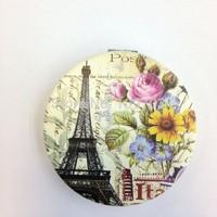Hot sale Paris Eiffel tower picture round shape PU mirror/ PU leather mirror/Makeup Mirror