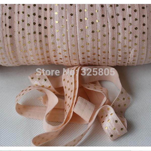 "free shipping 5/8"" 16mm 50yards gold dots fold over elastic custom printed elastic ribbon petal peach headbands(China (Mainland))"