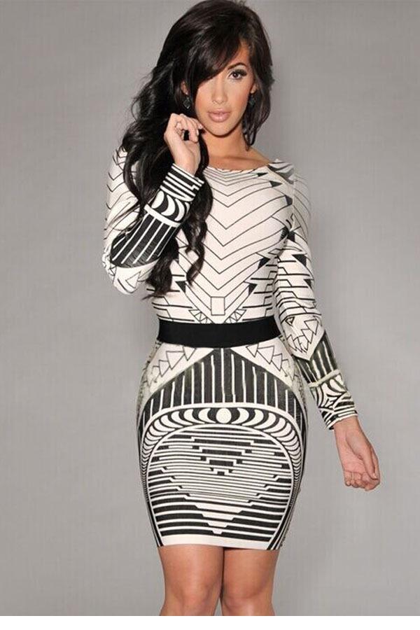 2015 Autumn Winter Sexy Women Backless Tribal Print Long Sleeve Vintage Bodycon Dress vestidos saias curtas femininas LC21723(China (Mainland))