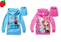 Retail 2014 new children girl sweater 100%cotton FROZEN  hoodie coat  kids Spring and Autumn Clothing,1pcs/lot, free shipping