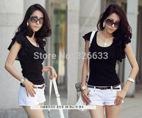 1pcs/lot hot women clothing t shirt korean style punk sexy tops tee clothes T-shirt ruffles short sleeve loose