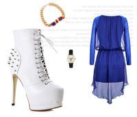 2014 new ultra high anti wolf rivet female boots fashion side zipper Short Boots Free Shipping