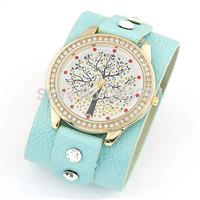 Wholesale price good quality new fashion women wide band mini tree dress casual wristwatch wrist watch hour