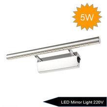 Free shipping 5W 220V LED 5050 SMD White Mirror Front Light Lamp Bath Wall Stainless Steel(China (Mainland))