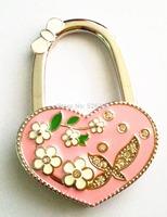 hot sale new design pink  love flower shape lady table foldable purse hanger hangbag bag hook free shipping
