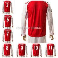 14/15 Koscielny Podolski Wilshere Ozil Alexis Welbeck Rosicky  Yellow Red Jerseys 14-15 Soccer Uniforms Long Sleeve Jersey