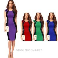 Women Office Work Wear Bodycon Dress Ladies Patchwork Fashion Elegant European Style Pencil Dresses New 2014 vestido de festa