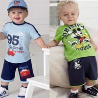 2014 New Summer boys Clothing Set Children's Short Sleeve Gray cow T-shirt Gray Pants K6237