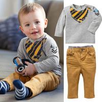 2013 New Arriva Boy Suit Plaid Cartoon Print T-shirt Long Pants Children Boy Set Autumn Free Shipping  K6319