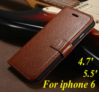 1PCS,New Arrival Fashion Luxury Wallet Flip Genuine Leather Case for iphone 6 6 plus with card slot phone case,free shipping