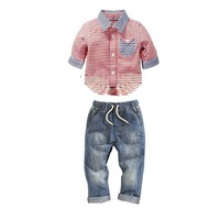 2014 New Baby Boys Clothing Sets 2-6 Years Turn-down Collar Striped Shirt + Jeans 2 Pcs Suits Children Clothes K4104