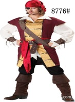 PS013 Men Caribbean Pirates Halloween Cosplay costumes fantasia christmas disfraces suit ( tops+vest+belt+hat+eye patch+pant)