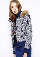 Hot Autumn Jackets Women New 2014 Fashion Flower Print Casual Zipper Coat Women baseball Jackets Outerwear & Coats Clothes 3061