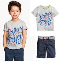 2014 Summer Kids Boy Clothes Sets Children England Style T-shirt  Jeans Suit Handsome Boys Clothes K6363