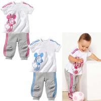 2013 New Arrival Boy Suit Plaid Shirt Cartoon Print T-shirt+Long Pants Children Boy Set Autumn Free Shipping  K6320