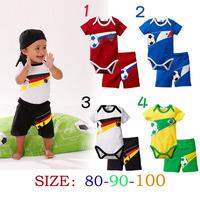 New 2014 Summer Two -piece Boys' Suit Sport Short Sleeve Shirt  Jeans Children Clothing sets 4 colors K6312