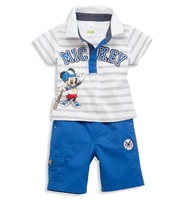 2014 Summer New Leisure Boy Mickey Striped T -shirt Pants Two-piece Suit K6294