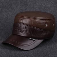fashion leisure men's leather fur cap cattle flat hat winter hat helmet