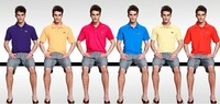 2014 New casual men's brand polo shirt sports jerseys solid color lapel Quality Brand Logo men's Tops & Tees 7 Size S-4XL