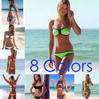2014 Top Quality Neoprene Women Bikini Set, Sexy Ladies Swimwear, Zipper In Bra, 8 colors, XS-XL,Freeshipping