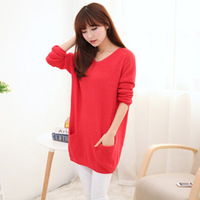 2014 ladies new winter fashion solid color long section of loose bat sleeve V-neck sweater sets of the first